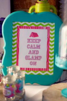Glamping Party via Kara's Party Ideas Sleepover Party, Slumber Parties, Spa Party, Girl Camping Parties, Glam Camping, Camping Signs, 13th Birthday Parties, 10th Birthday, Party Entertainment