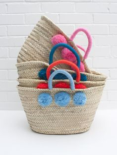 Colour Wrap Pom Pom Basket by Bohemia, the perfect gift for Explore more unique gifts in our curated marketplace. Diy Bag Crafts, Sac D'art, Sisal, Bohemia Design, Alternative To Plastic Bags, Beach Basket, Basket Bag, Hamper Basket, Basket Storage