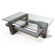Mesa de centro / moderna / de cristal / de metal lacado