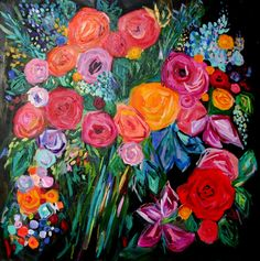 """Large Bold Abstract, Floral Still LIfe, Bright Bouquet, Original Painting on Canvas """"Lucy"""" 36"""" x 36"""""""
