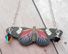 Butterfly Necklace in Red and Black