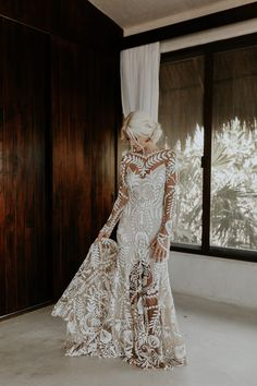 This lace Rue de Seine dress was ideal for this Tulum beach wedding | Image by Brooke Taelor