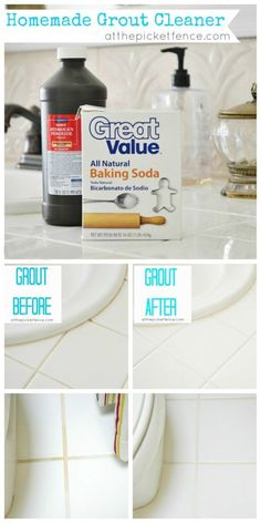 Grout Cleaner Simply pour baking soda into a bowl and slowly add hydrogen peroxide until you have the consistency of paste. Spread it over the grout lines and press it in while you're spreading. Then leave it for awhile. Then using warm water and a cloth simply wipe down the counters being sure to scrub the grout lines as you work.