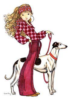 Marguerite taking Ruben for a walk - Sarah Kay