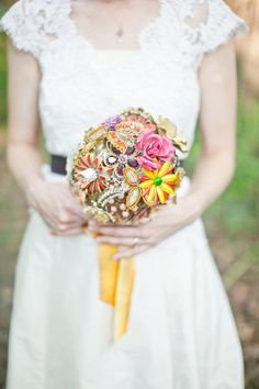 yellow and pink brooch bouquet