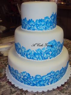 Brush Embroidery Blue/White Wedding Cake---could add some gumpaste flowers on top and on tiers possibly?