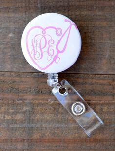 Stethoscope Heart Vine Monogram Retractable ID Badge Reel
