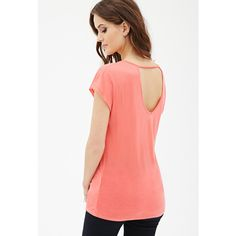 Love 21 Open-Back Knit Blouse ($13) ❤ liked on Polyvore featuring tops, blouses, coral, knit bralette top, bralet tops, bralette tops, knit blouse and short sleeve tops