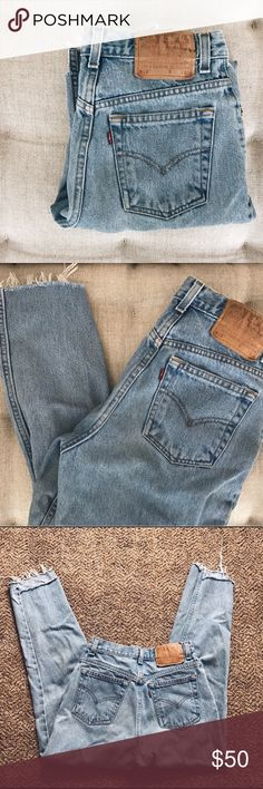 """Vintage Levi's mom jeans with frayed hem I'm 5'6"""" and fluctuate between 26"""" and 27"""" waist. Levi's Jeans Ankle & Cropped"""