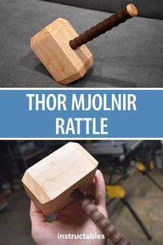 a wooden Mjolnir rattle for your miniature Thor. A great homemade Marvel toy.Make a wooden Mjolnir rattle for your miniature Thor. A great homemade Marvel toy. Kids Woodworking Projects, Diy Wood Projects, Woodworking Patterns, Woodworking Classes, Woodworking Basics, Woodworking Workshop, Woodworking Techniques, Carpentry Basics, Wood Crafts