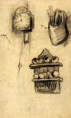 VINCENT VAN GOGH Clock, Clog with Cutlery and a Spoon Rack (1885)