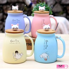ad632d3400 Sesame cat heat-resistant cup color cartoon with lid cup kitten milk coffee  ceramic mug children cup office gifts