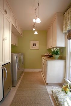 Green Laundry Room by Constance Crosby Interiors