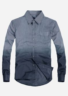 $21.59 Dip Dyed Long Sleeve Button Down Shirt