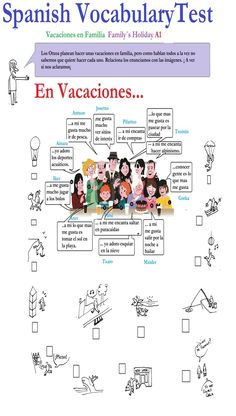 Spanish Test: Spanish Vocabulary Test: Family Holiday (A1) - Activities what do they like to do?