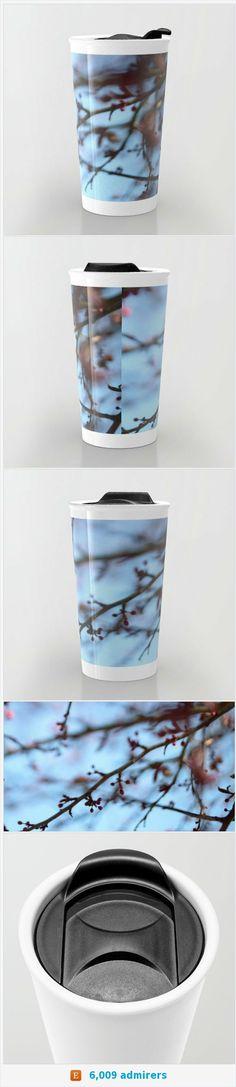 Tree Blooms Travel Mug Ceramic - Blue Coffee Travel Mug - Hot or Cold Travel Mug - 12oz Travel Mug -Made to Order