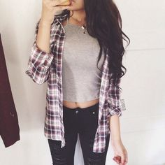"""Double tap  so cute by @elsyootd @elsyootd  Wearing our Dennis burgundy/white flannel & Kelly light grey croptop  All available at  @ootdfash @ootdfash  www.ootdfash.com  10% off using code """"love"""" <3333 #ootdfash"""