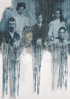Genes by Freudenthal and Verhagen discharge print - print cotton pickers - cyanotype faces onto denim? Sculpture Textile, Textile Fiber Art, Denim Kunst, Recherche Photo, Art Du Fil, Denim Art, Estilo Denim, Cyanotype, Collagraph