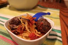 Spaghetti Squash with Meat and Offal Sauce (or Meatballs)