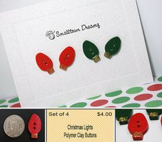 Christmas Lights Polymer Clay Buttons  (Set of 4)
