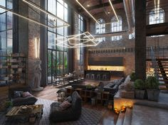 This loft living space symbolizes the efficient synergy between renaissance art and contemporary loft lighting ideas.