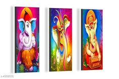 Paintings & Posters SAF Ganesha 6MM MDF Framed set of 3 Digital Reprint 15 inch x 18 inch Painting Material: MDF  Size- (L X W ): 36 cm X 45 cm Description: It Has 3 Pieces Of Wall Poster Work: Printed Country of Origin: India Sizes Available: Free Size   Catalog Rating: ★4.1 (6086)  Catalog Name: Navratri Multicolor Attractive Trendy Wall Posters Vol 5 CatalogID_622663 C127-SC1611 Code: 561-4339505-492