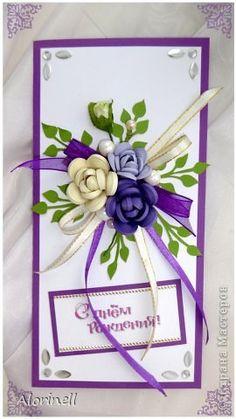 Открытка День рождения Квиллинг Сиреневые тона Бумага Бумажные полосы Бусинки Кружево Ленты фото 6