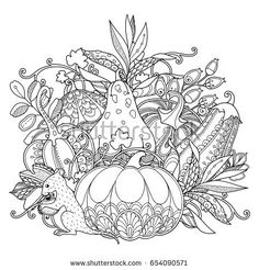 Vector garden composotion in doodle style. Black and white monochrome background. Pumpkins, berries and leaves. Zentangle coloring book page Pattern Coloring Pages, Free Coloring Pages, Coloring Books, Coloring Sheets, Vegetable Drawing, Style Floral, Thanksgiving Coloring Pages, Zentangle, Colored Pencil Techniques