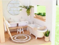 Modern double vanity with mirror