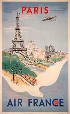Travel poster. Air France, Paris.
