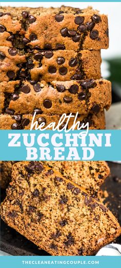 This Healthy Zucchini Bread Recipe is an easy, delicious treat. Low calorie, low sugar, gluten free & so delicious - everyone will love it! This easy clean eating recipe creates a moist bread, made even better with mini chocolate chips! #healthy #zucchini #bread #zucchinibread Easy Clean Eating Recipes, Zucchini Bread Recipes, Healthy Zucchini, Healthy Gluten Free Recipes, Healthy Breakfast Recipes, Healthy Snacks, Snack Recipes, Healthier Desserts, Flour Recipes