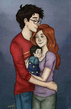 Lily and James Potter and their baby son, Harry Harry Potter Fan Art, Hery Potter, Images Harry Potter, James Potter, Harry Potter Universal, Harry Potter World, Harry Et Ginny, Golden Trio, Gina Weasley