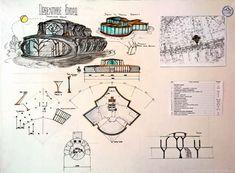 Foto Planetarium Architecture, Auditorium Architecture, Cultural Architecture, Architecture Design, Concept Board Architecture, Architectural Engineering, Architectural Thesis, Sketch Design, Wall Photos