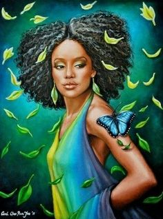 "African American Ar: ""Methamorphosis"" by Carol Chen Poun Joe. Black Girl Art, Black Women Art, Art Girl, African American Art, African Art, African Life, Natural Hair Art, Natural Hair Styles, Arte Black"