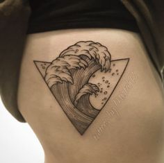 Ribcage Wave Tattoo by Brandon