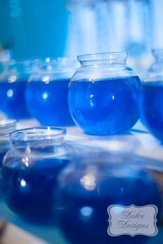 Cute jello fishbowls at a Mermaid Party #mermaid #party