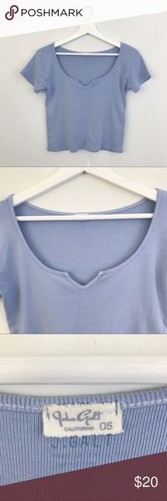 """🆕 BRANDY MELVILLE NWOT Pastel Blue Monet Top NWOT. Super soft pastel blue/periwinkle """"Monet"""" top by John Galt for Brandy Melville. One Size. Brand new without tags!  ✨🛍 Measurements 🛍✨ Top to bottom length: 19"""" Armpit to armpit: 17""""  🙅🏻 NO TRADES 🙅🏻 Brandy Melville Tops Tees - Short Sleeve"""