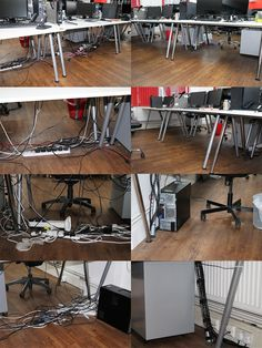 Under desk cable tidy service delivered by ACCL, before & after images.