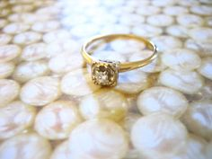Antique Gold Diamond Solitaire Engagement Wedding Band Ring from the 20s. $249.00, via Etsy.