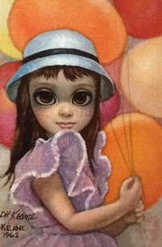 "Original Painting ""Untitled Girl With Hat 1962"" by Margaret D. H. Keane"