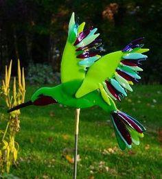 Fused Glass Hummingbird by kirk's glass art, via kirksglassart.com