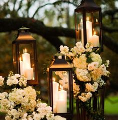Lanterns, florals, rustic wedding
