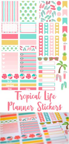 Free Tropical Life Planner Stickers