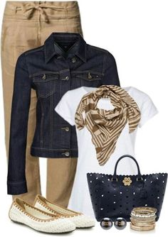 Blue and khaki! Love everything about this outfit.