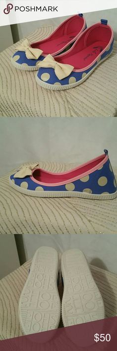 Lola Ramona ShoeShoe Polka Dot Bow Flats NWT Adorable casual flats in periwinkle blue with cream polka dots and bows, and baby pink piping. Size 38, sturdy white rubber soles, canvas upper. Never worn or even tried on, removed from the box for the first time for these photos. Box and dust bag included. Perfect for when you want pinup style without the high heel. European sizing, fits 7.5 to 8, and they have a lot of width. Lola Ramona  Shoes Flats & Loafers