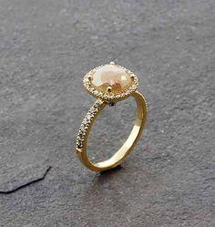 Sethi Couture Orange/Green Diamond Ring - 18K gold, cushion cut opaque orange/green diamond (1.82 TCW) and white diamond border (.38 TCW) ring.  Size 6.