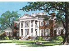 Home Plans HOMEPW26725 - 10,735 Square Feet, 6 Bedroom 7 Bathroom Plantation Home with 3 Garage Bays