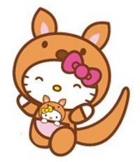 Hello Kitty in bunny suit. Or is it a bear? Oh, I get it!!! It's a kangaroo. I should know, I live in Australia :-D