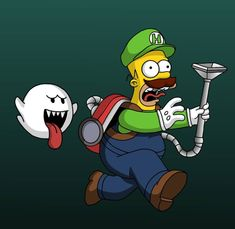 Homer - Luigi's Mansion, The Simpsons Simpsons Drawings, Simpsons Cartoon, Funny Drawings, Disney Drawings, Cartoon Drawings, Cartoon Art, Simpson Wallpaper Iphone, Rick Y Morty, Graffiti Characters