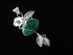 Sterling Silver  Brutalist Malachite Pendant with by CreativeEddy